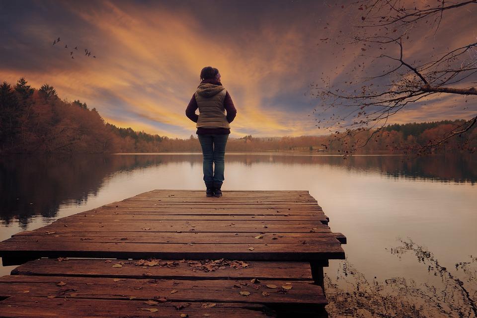 Landscape, Lake, Sky, Clouds, Gateway, Women, Sunset