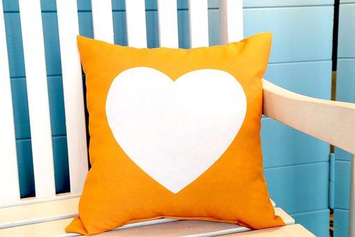 オレンジ, 中心部, 形状, ホワイト, 分離, 装飾的な, 家庭, 枕, 背景