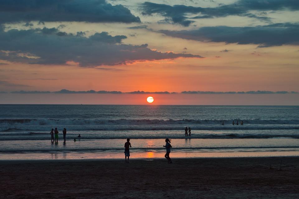 Costa Rica, Paisaje, Playa, Arena, Atardecer, Costa