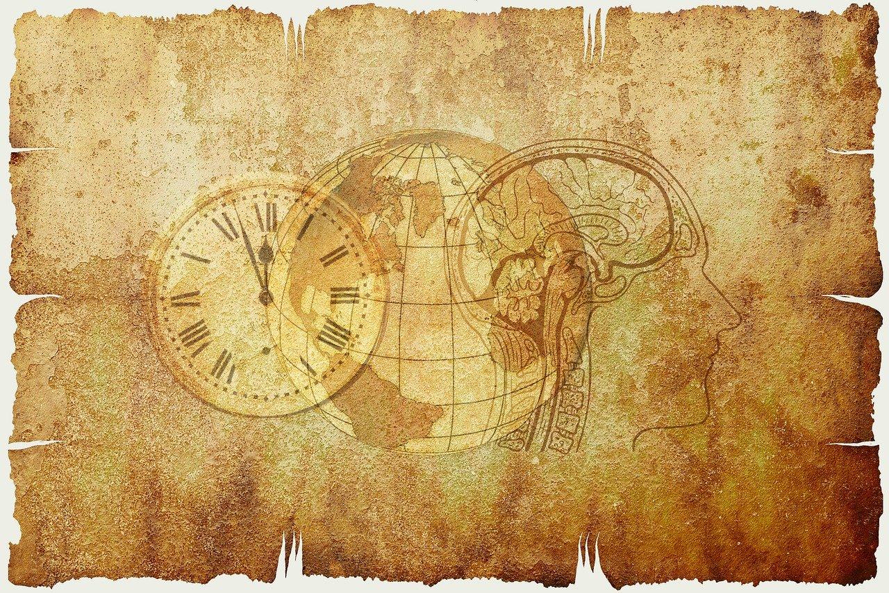 羊紙に時計が描かれている
