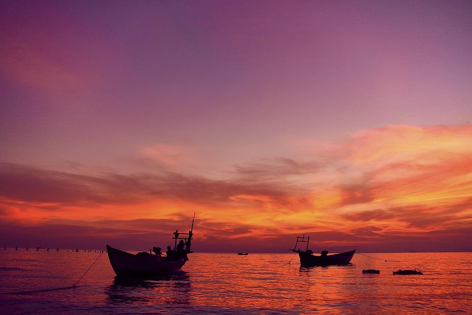 Zee, Zonsondergang, Boot, Sunrise