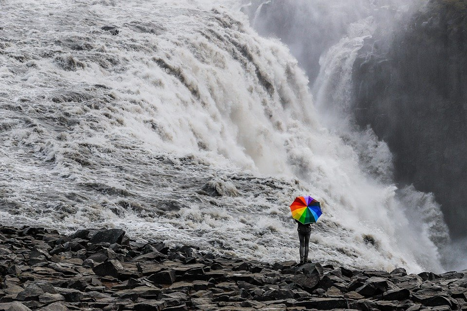 滝, 傘, 自然, コントラスト, 虹