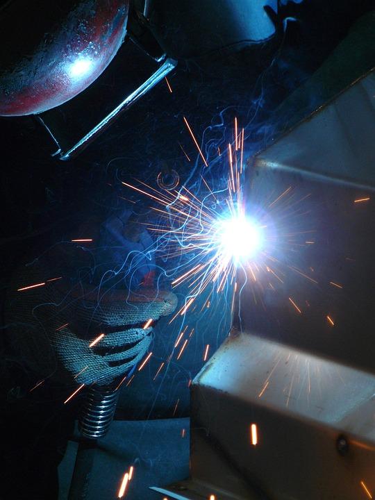 Welding, Blue, Work, Industry, Manufacturing, Metal