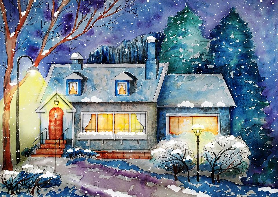 Cottage, Maison, Paysage, Hiver, Histoire, Forêt