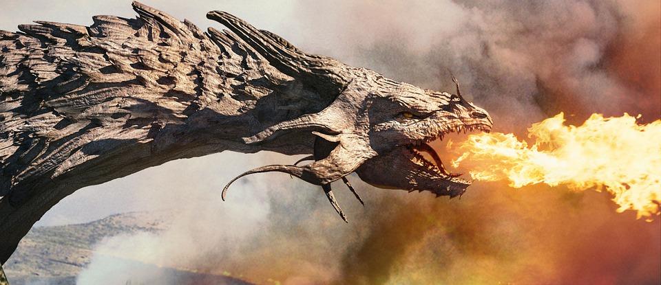 Dragon, Cg, Feu, Flamme, Le Dragon, La Tête, La Tête