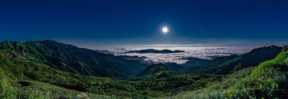 Landscape, Panorama, Night, Mountain