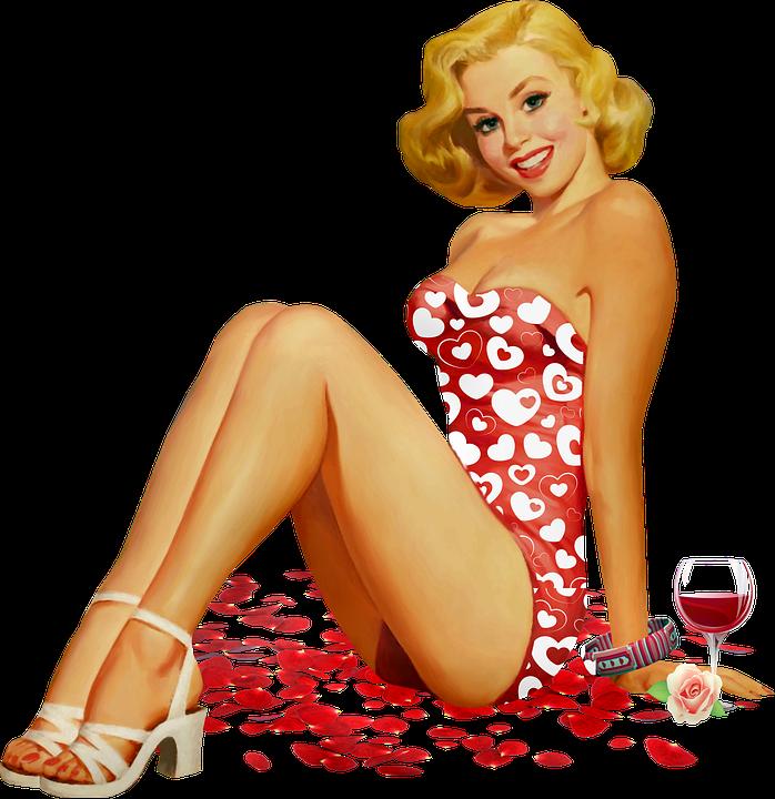 Valentine Pin Up, Wine, Rose Petals, Retro Girl