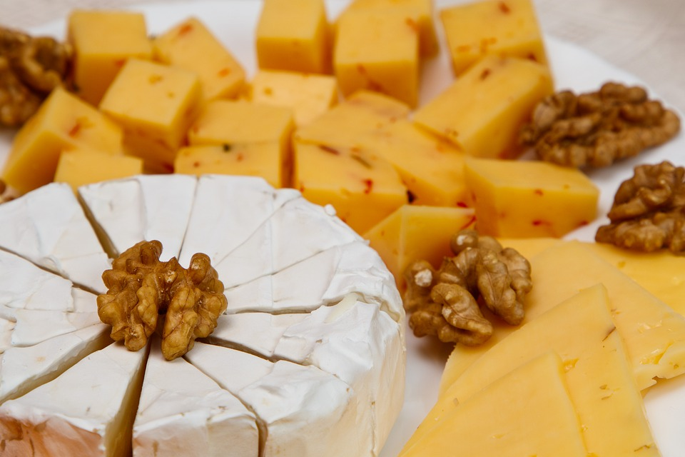 Cheese, Dairy Products, Walnuts, Sliced, Cuts, Food