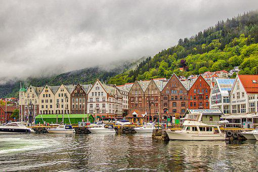 Norway, Bergen, Landscape, Architecture