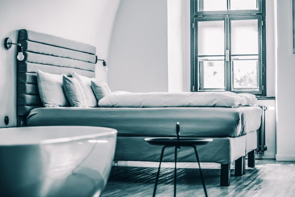 ベッド, 家, アパート, 家具, 寝具, インテリア, 不動産, デザイン, 快適さ, 快適な, 枕