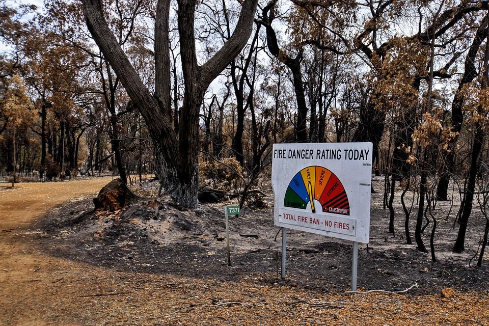 Fire danger level indicator - Australian bushfires