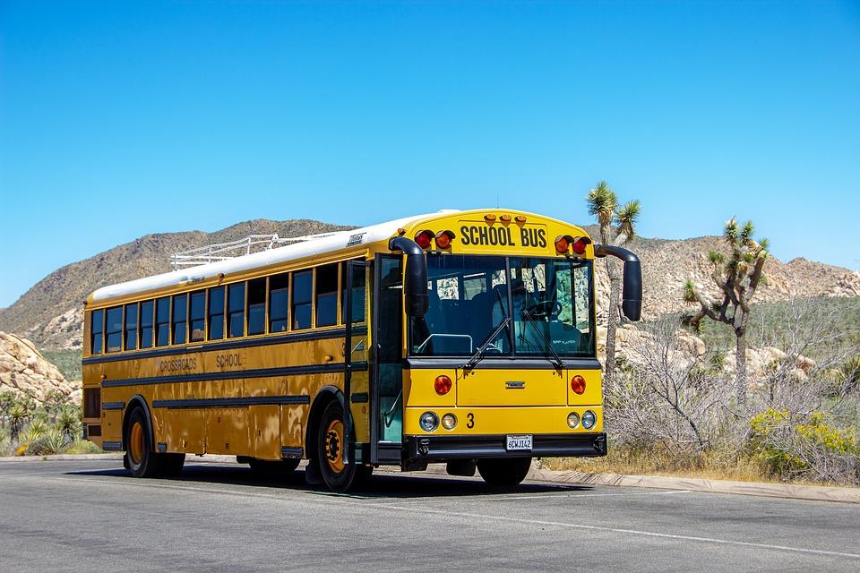 スクールバス、黄色、アメリカ、バス、交通機関、車両