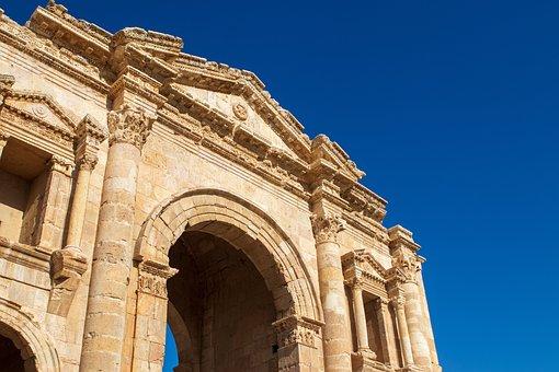 Jerash, Jordan, Roman, City Gate, Ruin