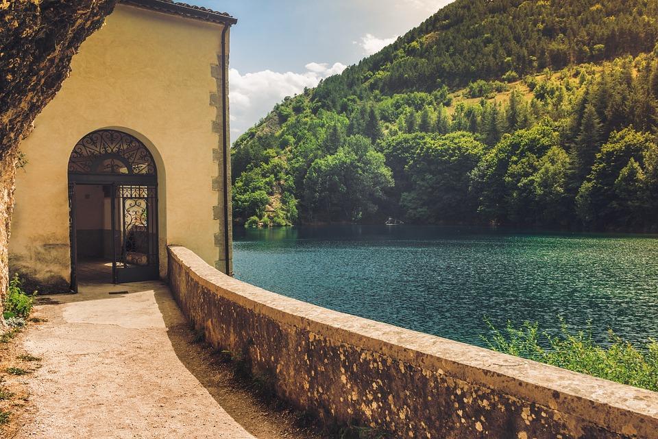 Lake, Church, Water, Landscape, Mountains, Nature