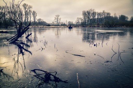Lake, Frozen, Ice, Water, Winter, Frost
