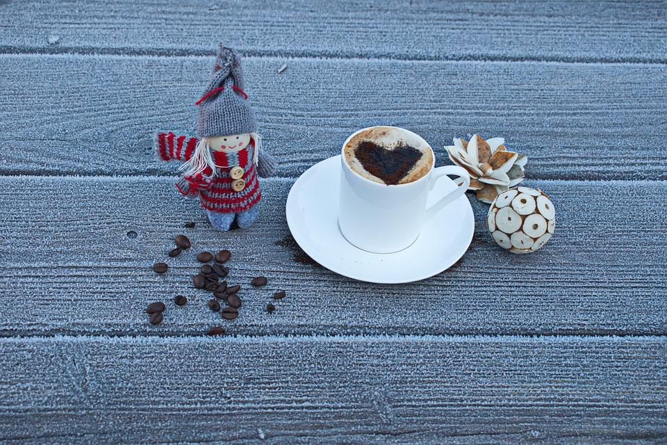 寒い日, コーヒー, ドリンク, コーヒー豆, 人形, 中心部, 氷, 愛, 冬, 霜, 冷凍, 甘い, 感情