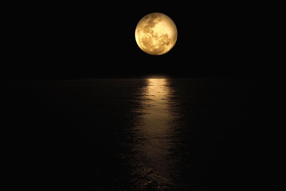 満月, ファンタジー, 水, 泊, 月面反射, 風景, 海景, 海岸線, 自然, 暗い気分