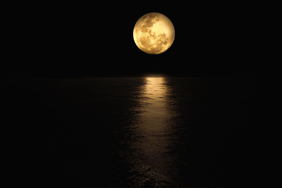 Moonlight, Water, Night, Reflection, Landscape, Mood