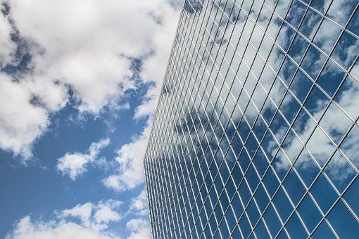 建物, 反射, 雲, 空, 超高層ビル, アーキテクチャ, 市, ガラス, 都市