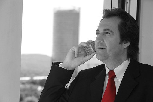 Businessman, Tie, Red, Black And White