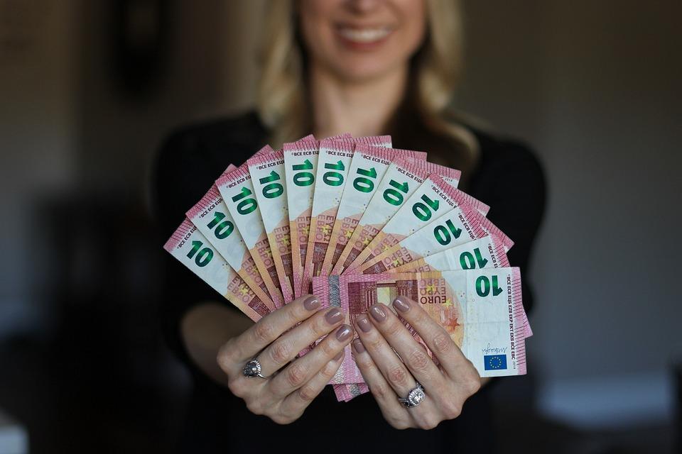 Mujer, Feliz, Dinero, Del Euro, Proyectos De Ley, Mano