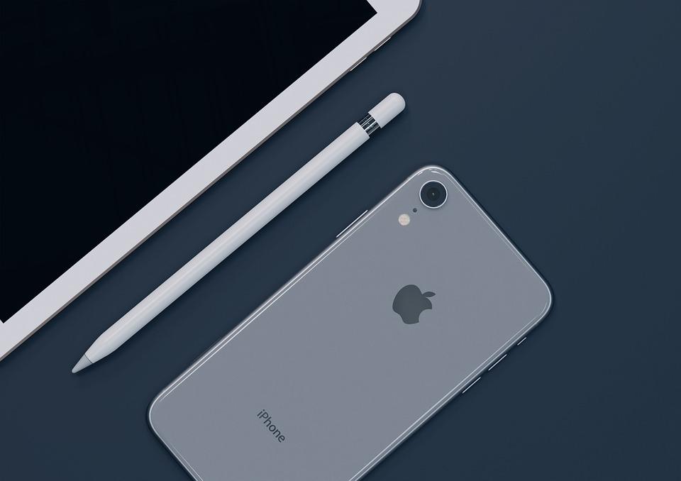 アップル, ホワイト, コンピュータ, Iphone, デスク, 技術, Apple鉛筆, Ios