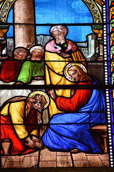 Stained Glass, Window, Church, Wash