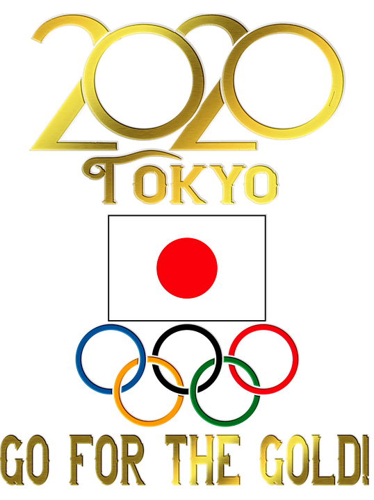 Tokyo Olympics, Olympic Rings, Japanese Flag