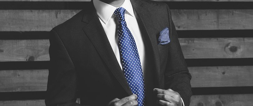Businessman, Tie, Blue, Suit, Banner