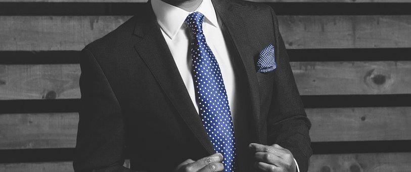 Businessman, Tie, Blue, Suit, Banner