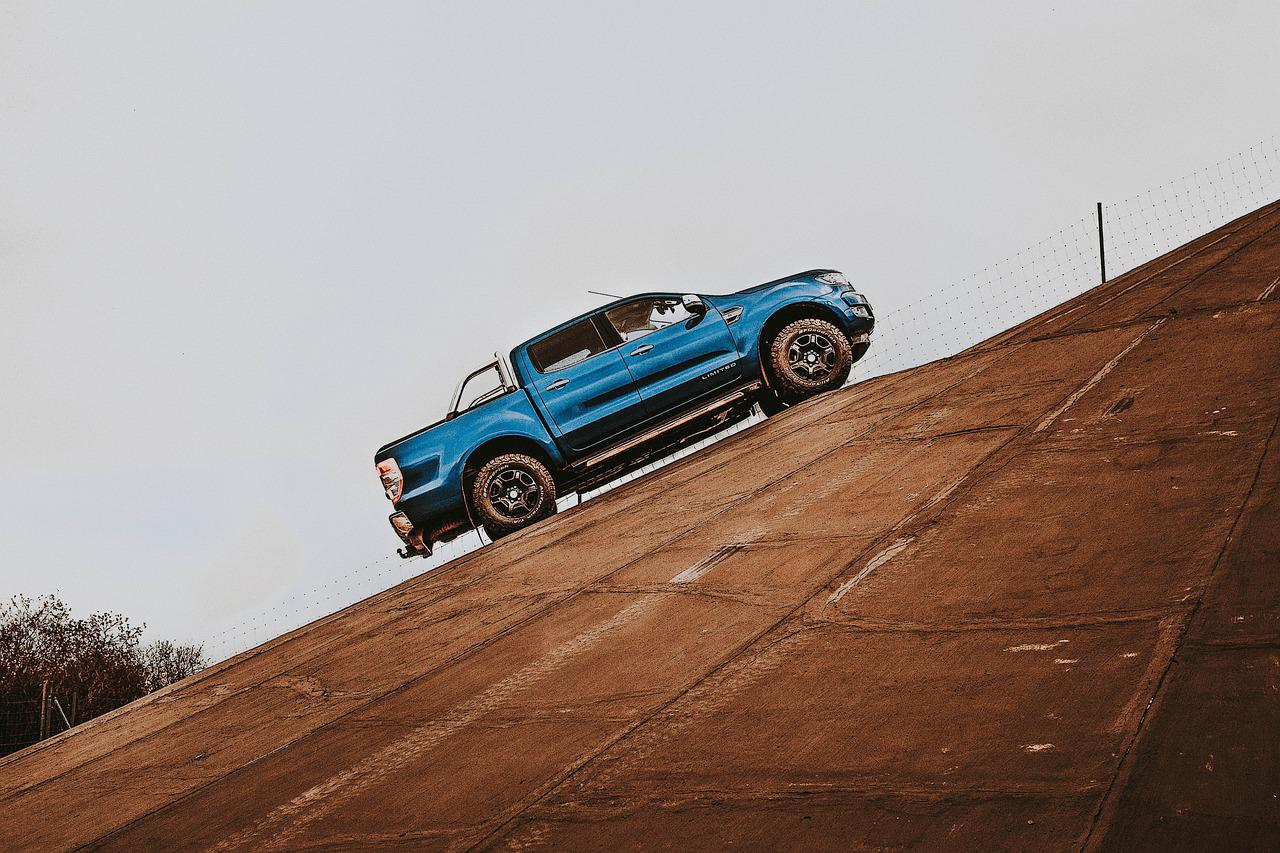 Ford Ranger driving up a hill