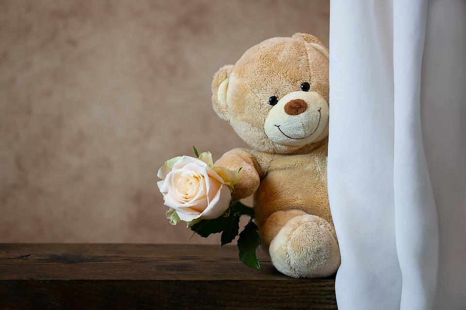 ローズ, テディベア, テディ, 愛, 可愛い, ロマンチック, 花, 愛情, 動物のぬいぐるみ