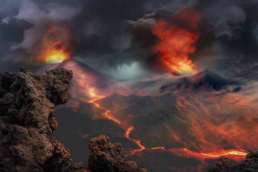Landscape, Volcanoes, Eruption, Fantasy