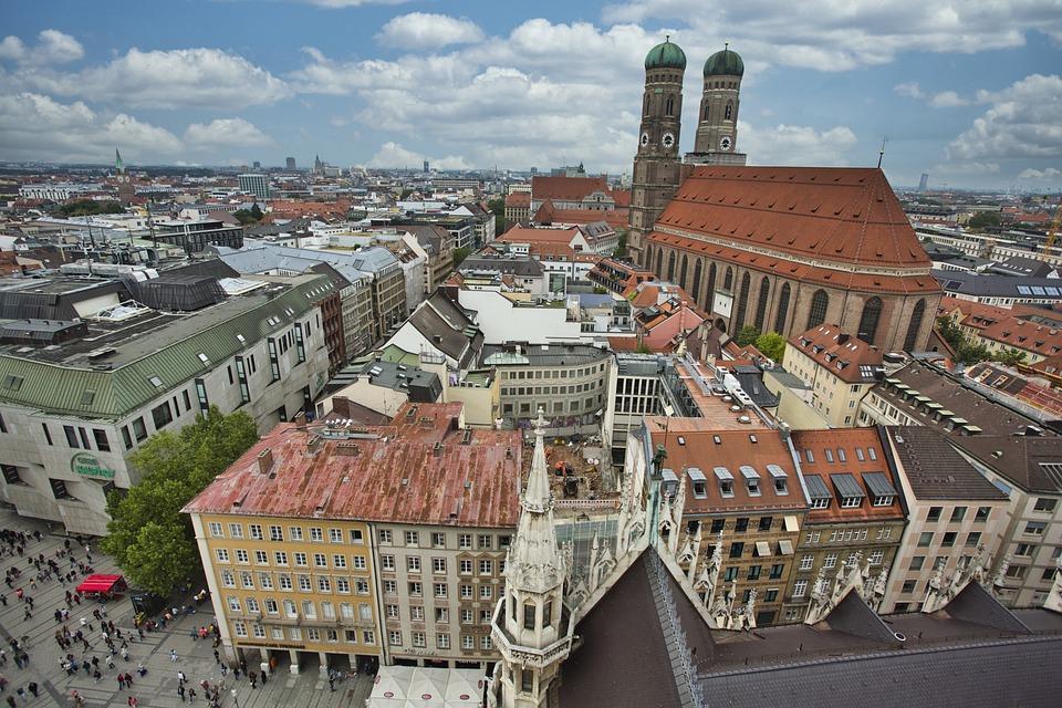 München, Stad, Architectuur, Gezichtspunt, Landmark