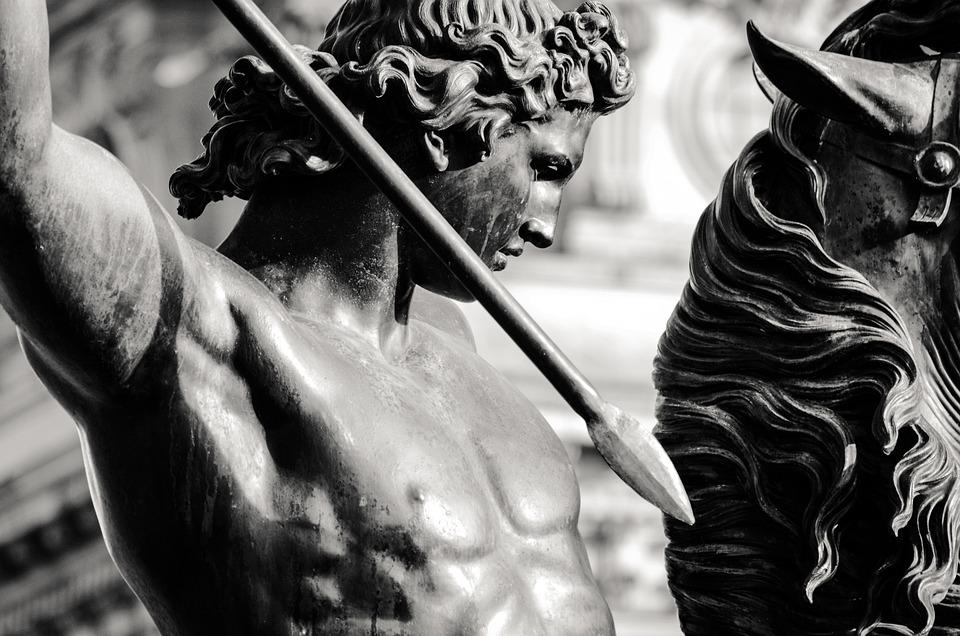 Sculpture, Warrior, Man, Spear, Reiter, Fighter