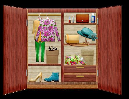 クローゼット, ワードローブ, 戸棚, 食器棚, 服, キャビネット, 木造