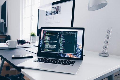 コンピュータ, ラップトップ, 技術, 青色のコンピュータ