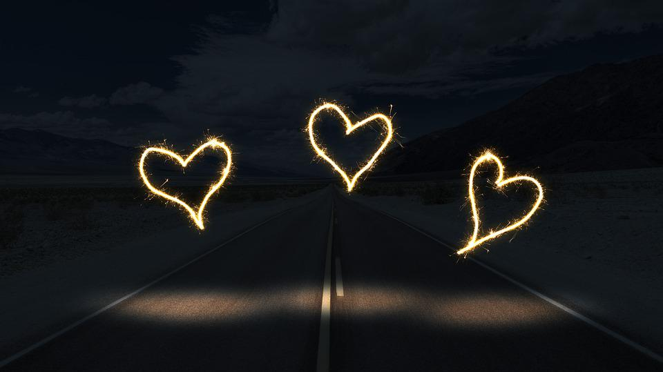 Road, Night, Light, Heart, Away, Dark, Travel