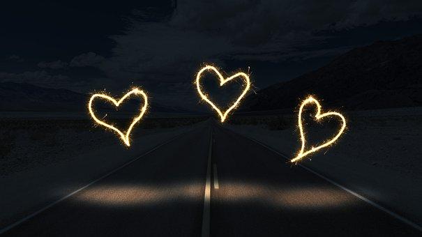 道路, 泊, 光, 中心部, 距離, 暗い, 旅行, 長時間露出, 線香花火