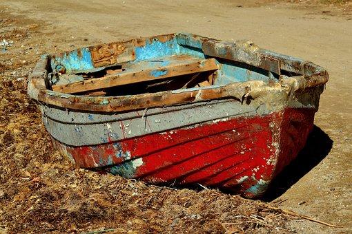 Boat, Abandoned, Seaweeds, Old, Broken