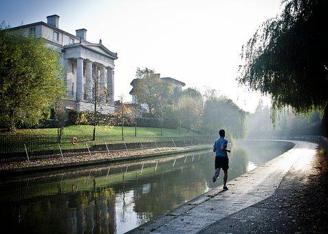Man, Runner, Running, Fitness, Canal