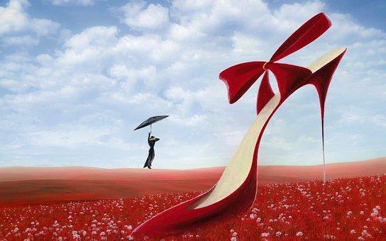 ファンタジー, 牧草地, 赤, 雲, ハイヒール, 花, 人間, 画面, 飛行