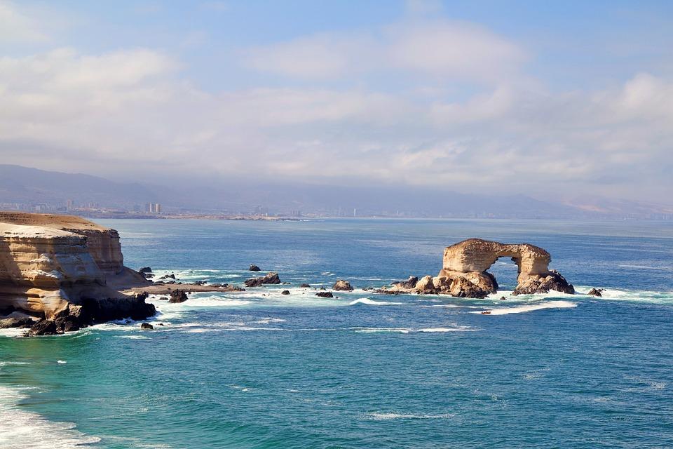 Chile, Antofagasta, Ocean, Cliff, Blue, Water, Stone