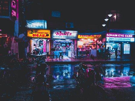 Shop, City, Night, Neon, Advertising