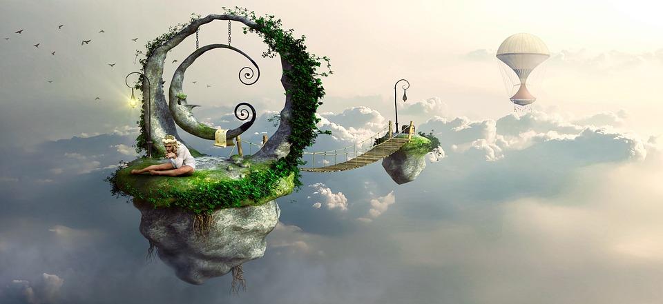 ファンタジー, 雲, 島, 太陽, 光, Float 型, 気分, 夢, 雰囲気, 女の子, 空, 構成します
