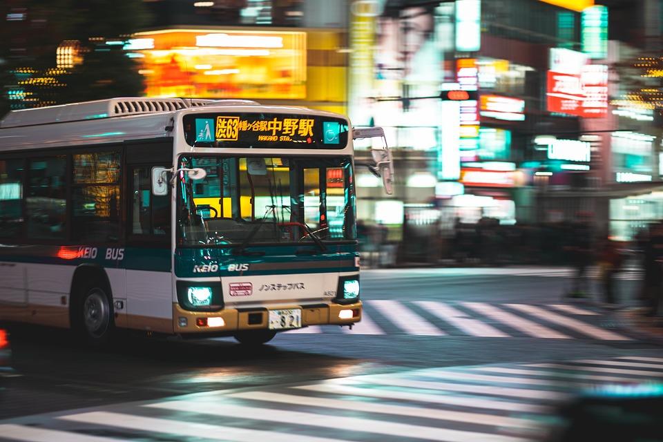 交通機関, バス, 渋谷, 交差点, 夜, 東京, 日本, ビルボード, 街, 市, アジア, トラフィック