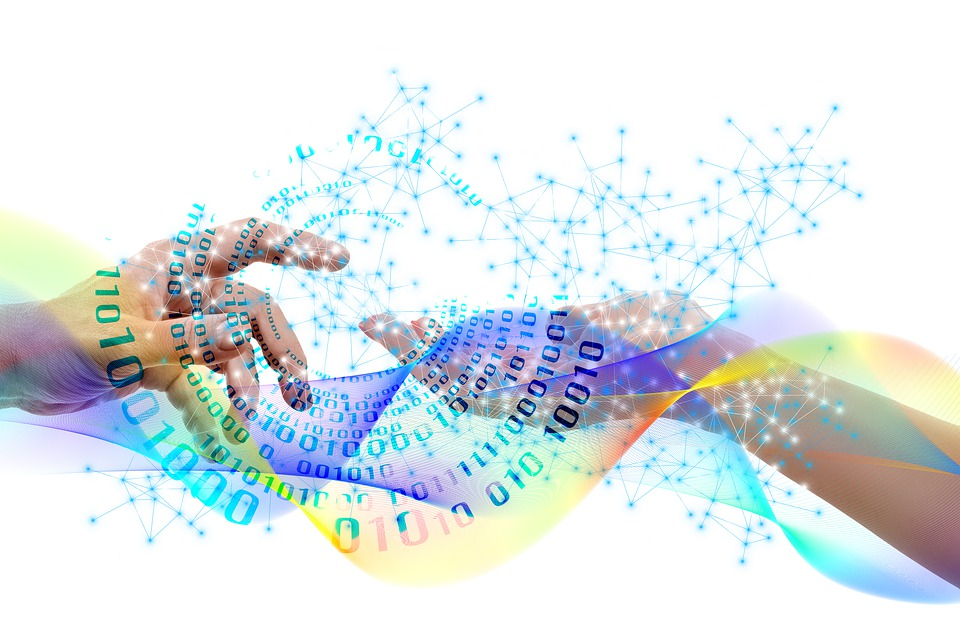 手, 男, 女性, お問い合わせ, ウェブ, 接続, データ, 波, バイナリ, Null, 1