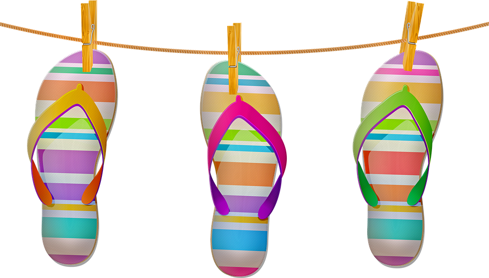Clothesline, Sandals, Summer, Flip Flops, Beach, Shoes
