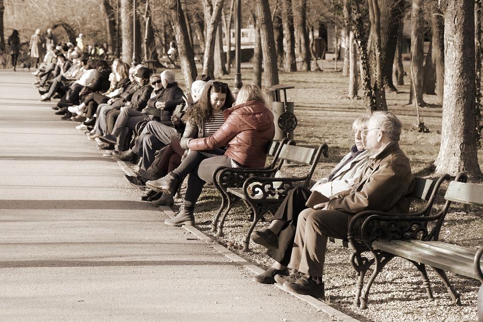 Menschen, Männer, Frauen, Jung, Alt, Ort, Banken, Park