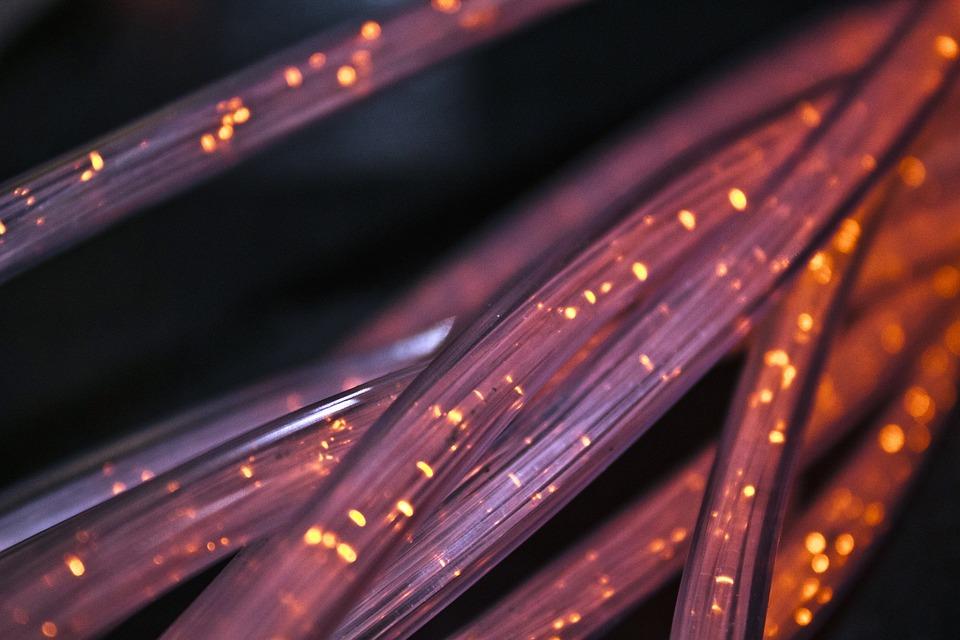 De Fibra, Por Cable, Alambre, Conexión, Red, Cable